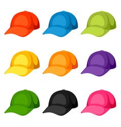 Colored baseball caps templates set of vector