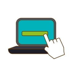 computer with hand pointer icon image vector image