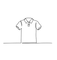continuous one line drawing t-shirt clothes line vector image