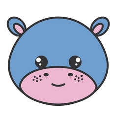 cute and tender hippopotamus head character vector image