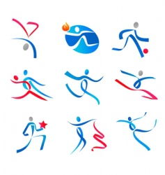 Dancing people and sportsmen vector