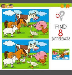 Differences activity with farm animal characters vector
