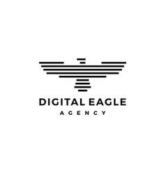 eagle logo stripes line vector image