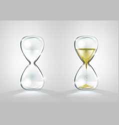 empty and full gold glitter hourglass isolated vector image