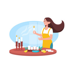 Female character making candles with ingredients vector