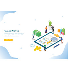 Financial research analysis isometric 3d for vector