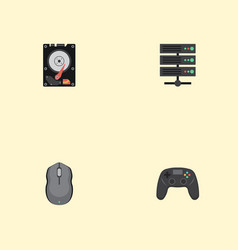 Flat icons controller hard disk datacenter and vector