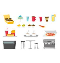 food and drinks cartoon set vector image