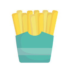 French fries in box fast food cartoon icon style vector