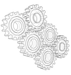 Gear sketch rendering of 3d wire-frame vector