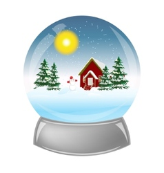 Glass ball with installation winter inside vector