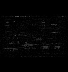 glitch television on black backdrop white and vector image