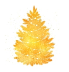 Gold silhouette of Christmas tree vector