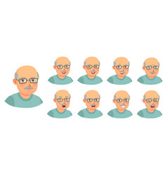 Grandfather emotions set character senior doubt vector