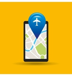Hand holds phone navigation app airport vector
