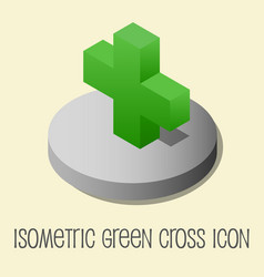 Heath icon isometric style green cross vector