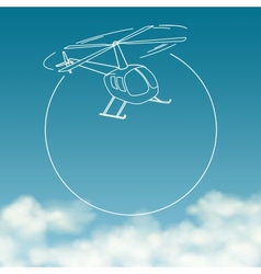 helicopter on background cloudy sky with space vector image