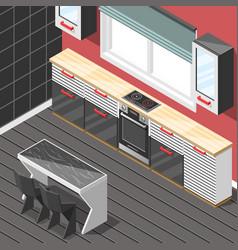 kitchen futuristic interior isometric background vector image