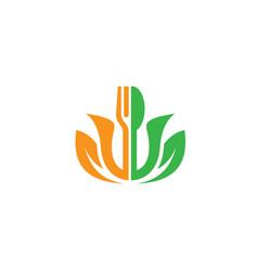 leaf fork restaurant logo vector image