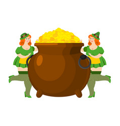 leprechaun girl and pot of gold legendary vector image