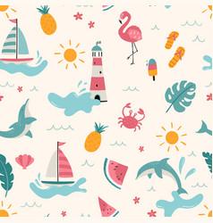 Lovely hand drawn summer seamless pattern cute vector