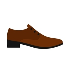 Male brown shoe icon flat style vector image