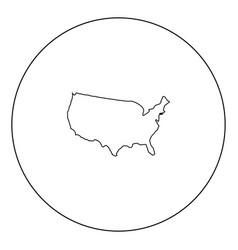 map of america icon black color in circle vector image