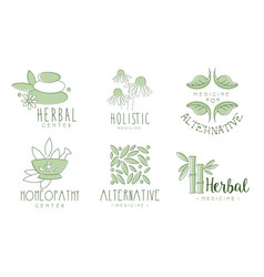 Medicine logos emblem for herbal and homeopathy vector