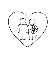 Monochrome silhouette of heart and pictogram vector