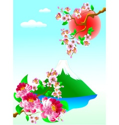 Mount fuji and flowers vector