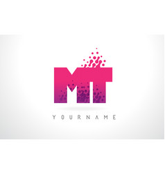 Mt m t letter logo with pink purple color and vector