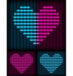 neon heart background vector image