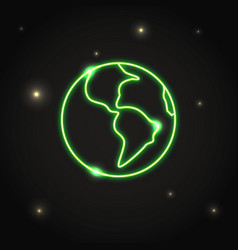 Neon planet earth icon in thin line style vector