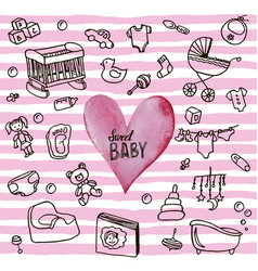 newborn infant themed cute doodle set bacard vector image