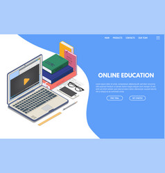 online education isometric banner vector image