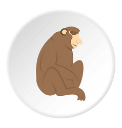 Orangutan monkey icon circle vector