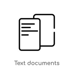 Outline text documents icon isolated black simple vector