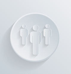 Paper circle flat icon silhouette of a men vector