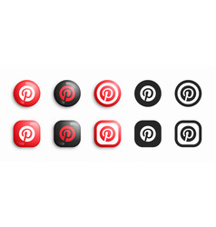 pinterest modern 3d and flat icons set vector image