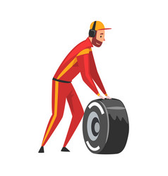 Pit stop crew member in uniform with tire wheel vector