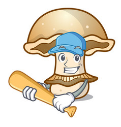 Playing baseball portobello mushroom character vector