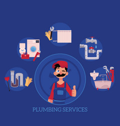 Plumber concept posters set vector