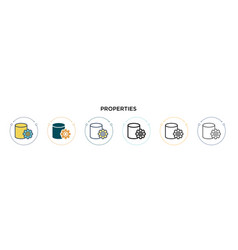 Properties icon in filled thin line outline and vector