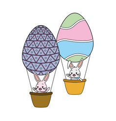 rabbit flying balloons eggs basket vector image