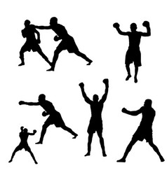 raster picture of silhouette of black boxers on vector image