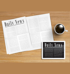 Realistic newspaper with a tablet and a cup of vector