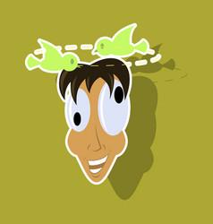 Realistic paper sticker on theme humor dizzy man vector