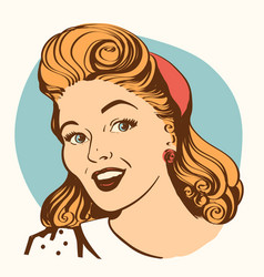 retro smiling woman portrait face color vector image