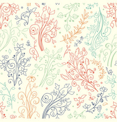 Seamless floral pattern hand draw doodles vector