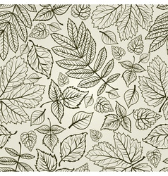 Seamless grunge autumn leaves background thanksgiv vector